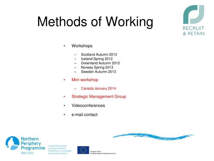 Methods of Working