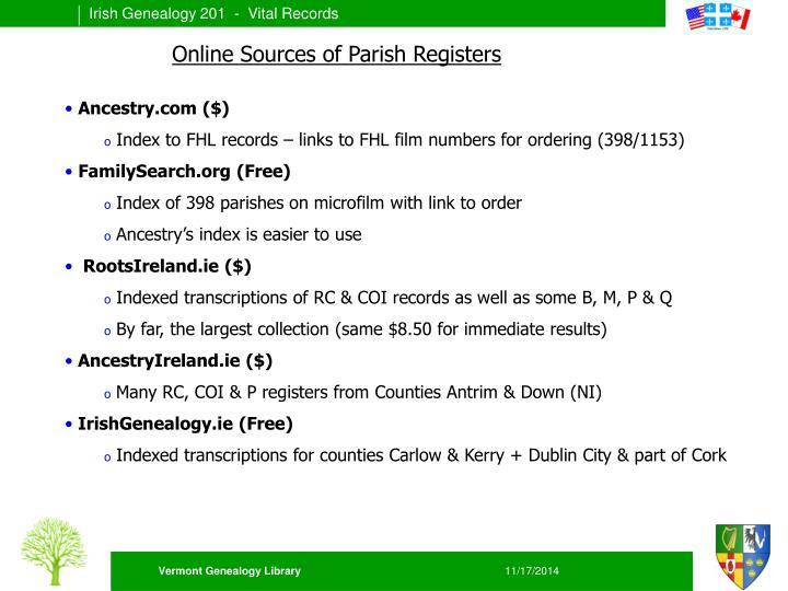 Online Sources of Parish Registers