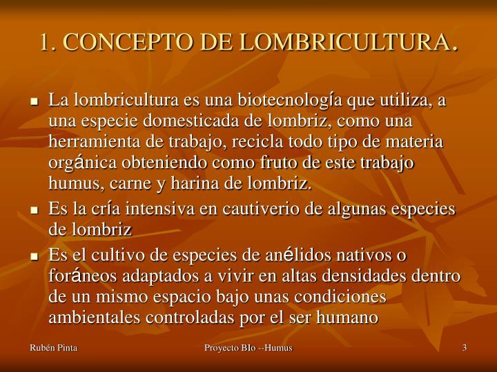 1. CONCEPTO DE LOMBRICULTURA