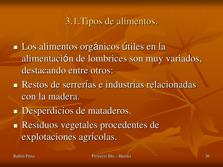 3.1.Tipos de alimentos.