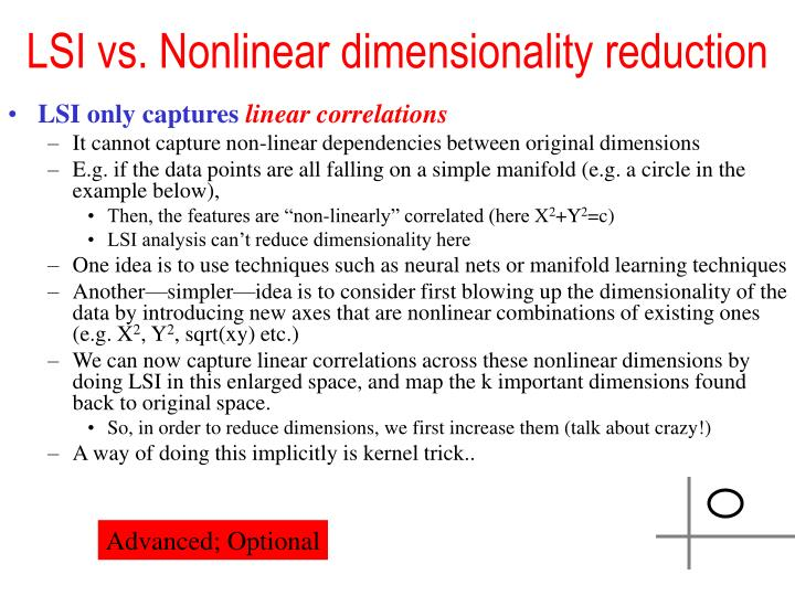 LSI vs. Nonlinear dimensionality reduction