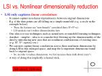 lsi vs nonlinear dimensionality reduction
