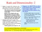 rank and dimensionality 2