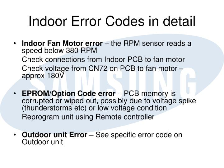 Indoor Error Codes in detail