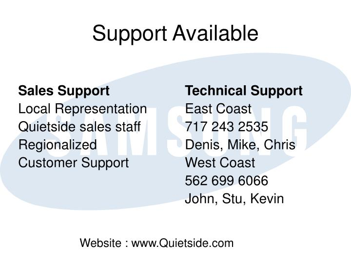 Support Available