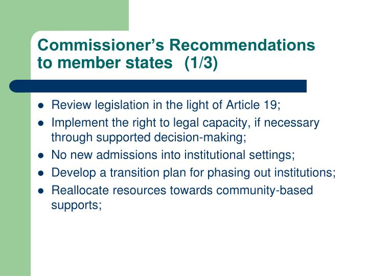 Commissioner's Recommendations