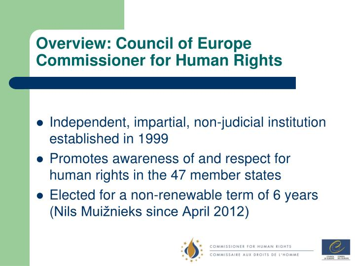 Overview: Council of Europe Commissioner for Human Rights