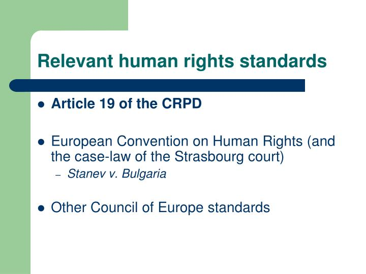 Relevant human rights standards