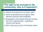 the right to be included in the community why is it important