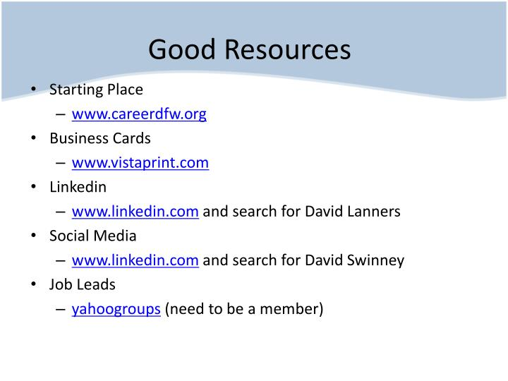Good Resources