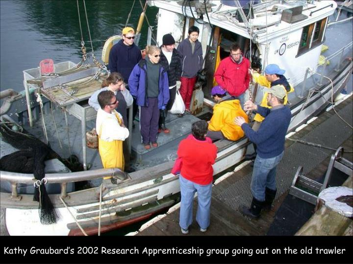 Kathy Graubard's 2002 Research Apprenticeship group going out on the old trawler