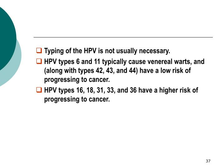 Typing of the HPV is not usually necessary.