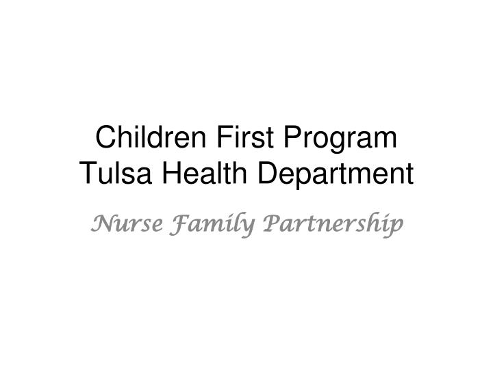 children first program tulsa health department