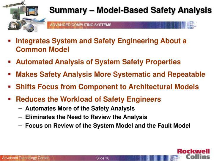Summary – Model-Based Safety Analysis
