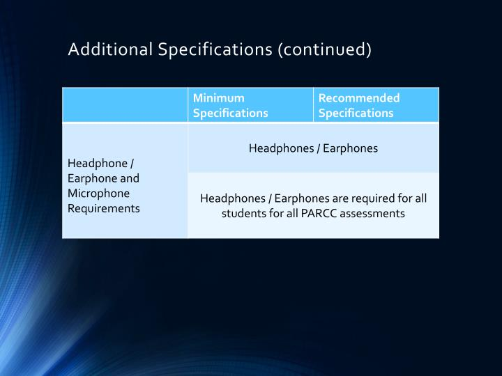 Additional Specifications (continued)