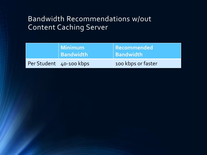 Bandwidth Recommendations w/out Content Caching Server