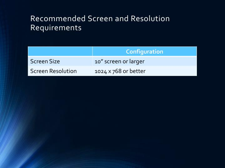 Recommended Screen and Resolution Requirements