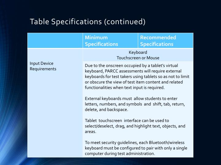 Table Specifications (continued)