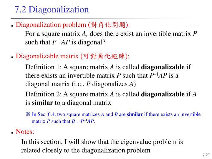 7.2 Diagonalization