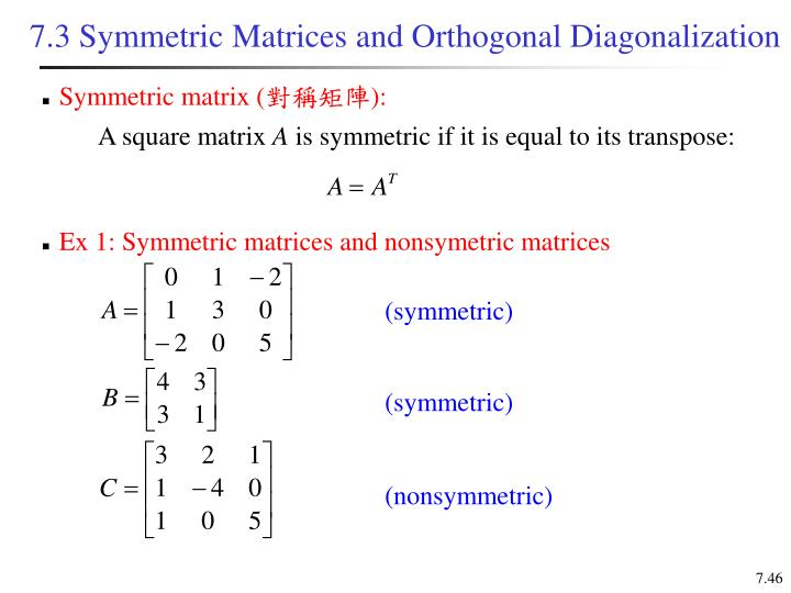 Ex 1: Symmetric matrices and nonsymetric matrices