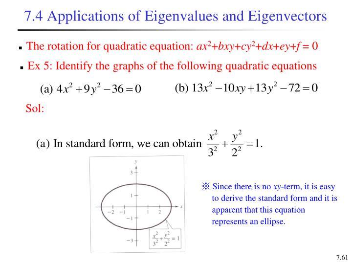 7.4 Applications of Eigenvalues and Eigenvectors
