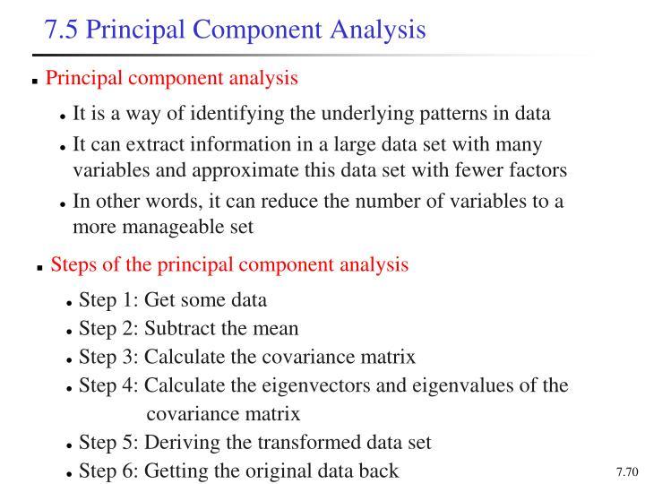 7.5 Principal Component Analysis