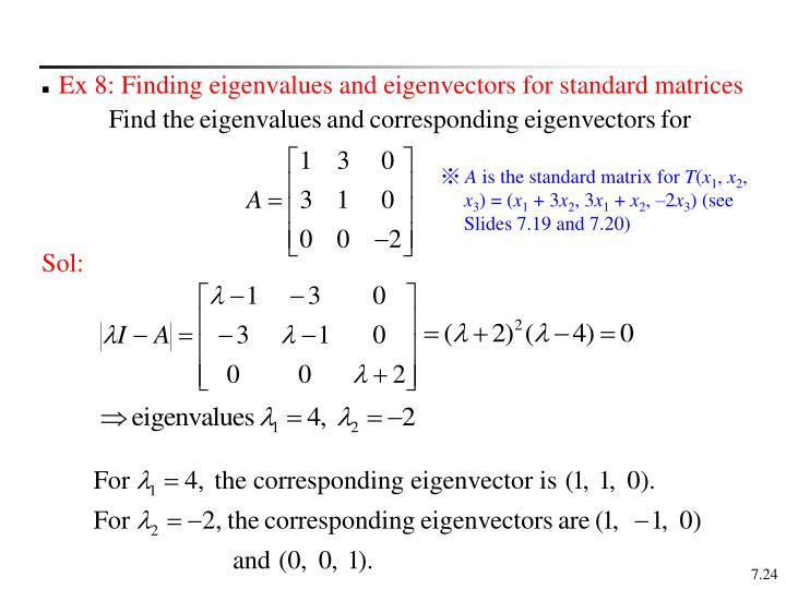 Ex 8: Finding eigenvalues and