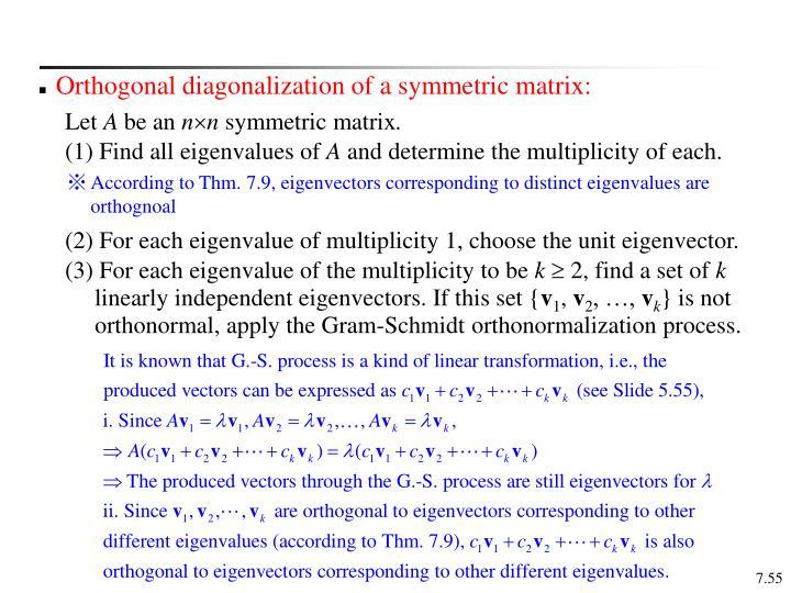 Orthogonal diagonalization of a symmetric matrix: