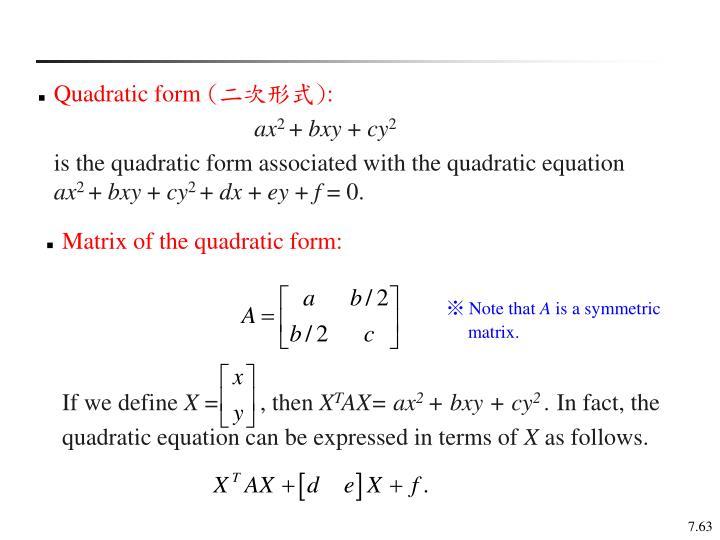 Quadratic form