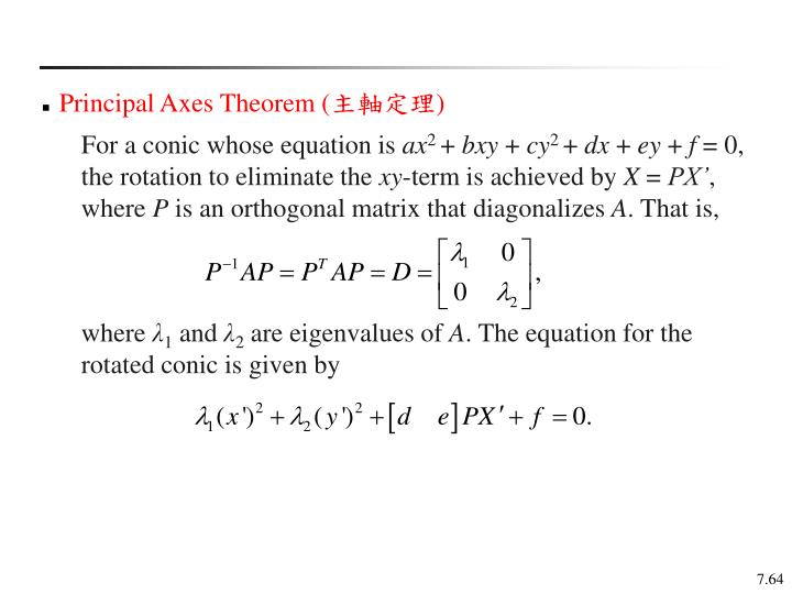Principal Axes Theorem (