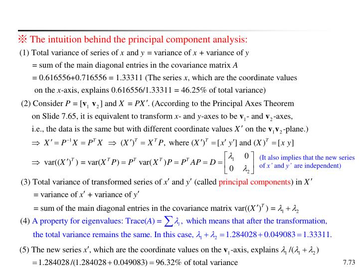 ※ The intuition behind the principal component analysis: