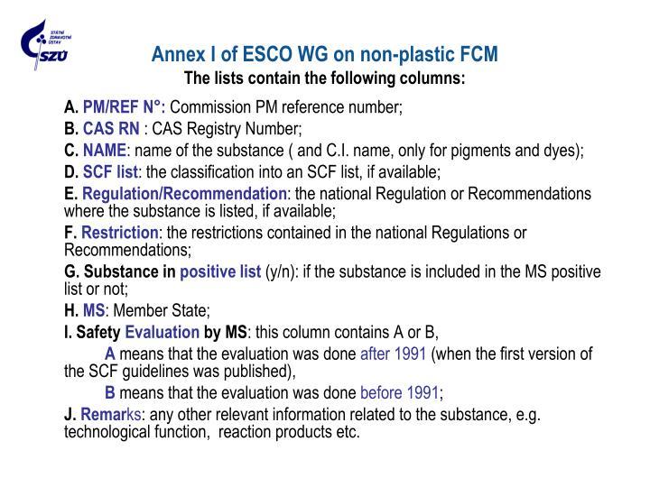 Annex I of ESCO WG on non-plastic FC