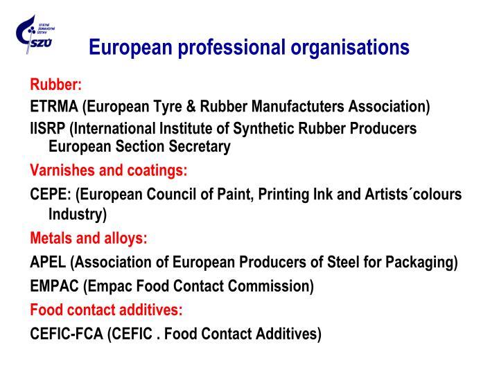European professional organisations
