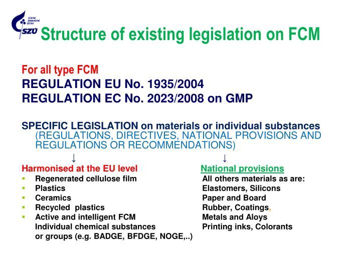 Structure of existing legislation on FCM