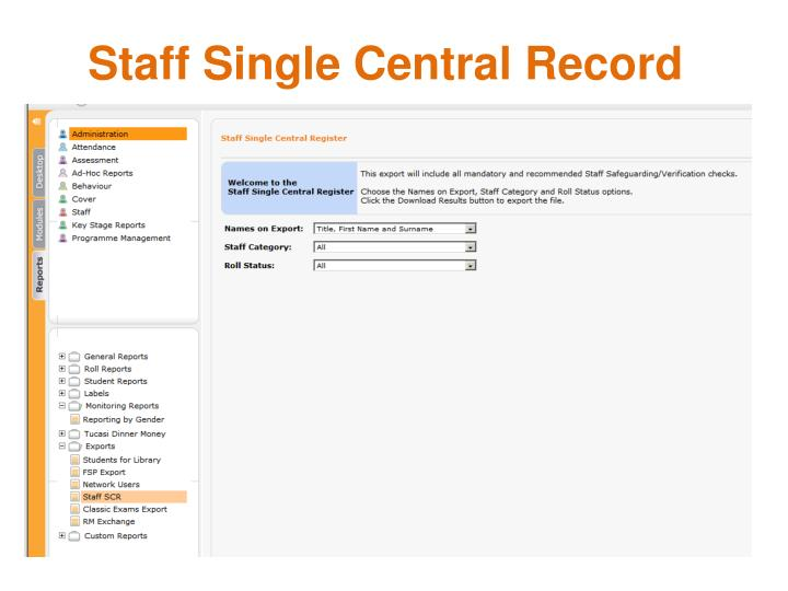 Staff Single Central Record