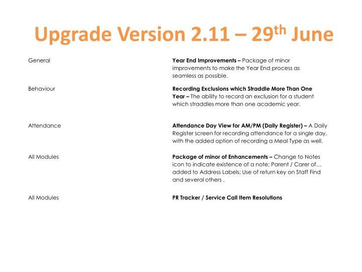 Upgrade Version 2.11 – 29