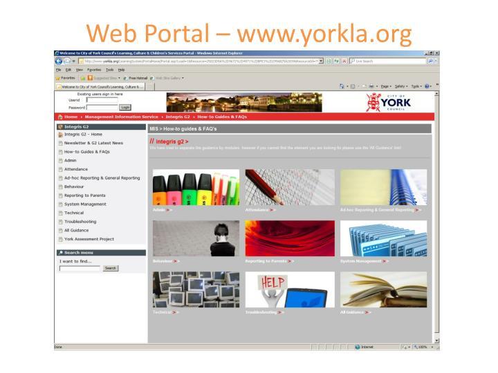 Web Portal – www.yorkla.org
