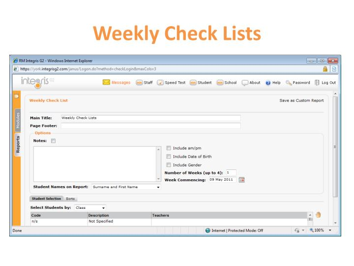 Weekly Check Lists
