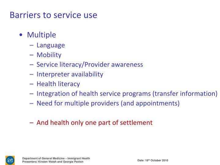 Barriers to service use
