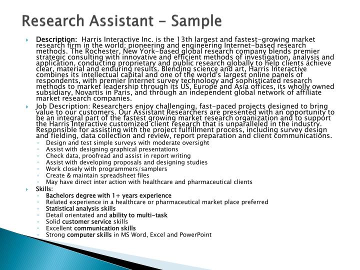 Research Assistant - Sample