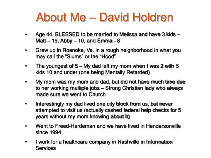 About Me – David Holdren