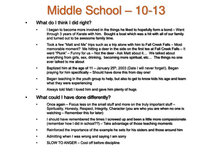 Middle School – 10-13