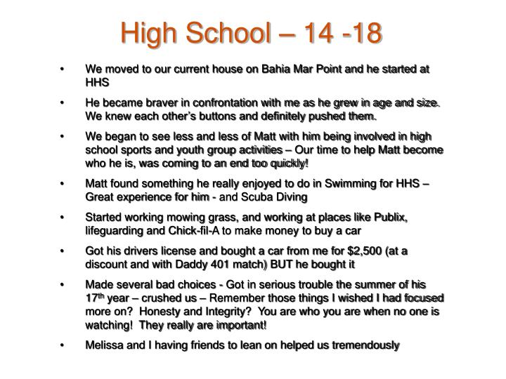 High School – 14 -18