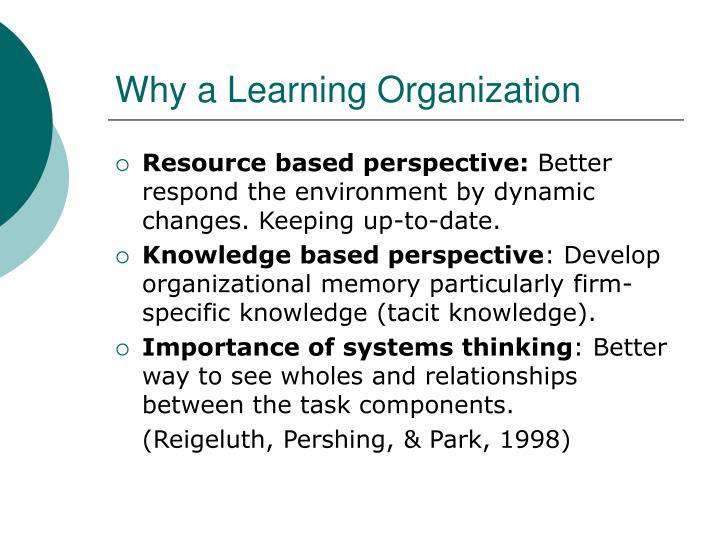 Why a Learning Organization