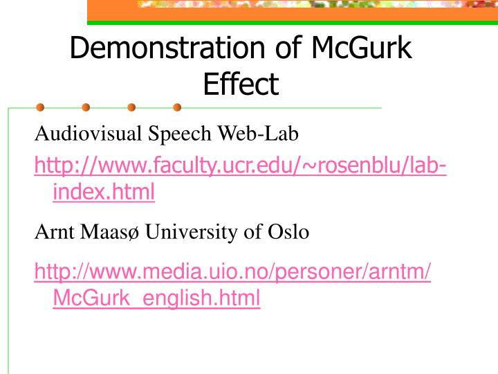 Demonstration of mcgurk effect