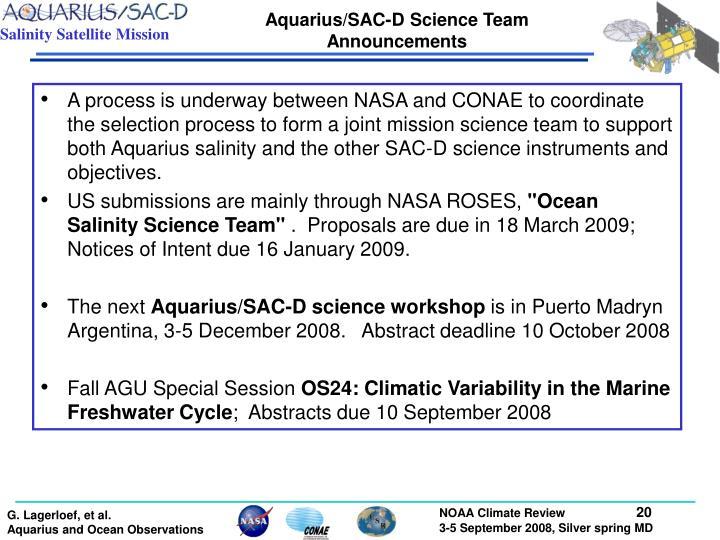 Aquarius/SAC-D Science Team Announcements