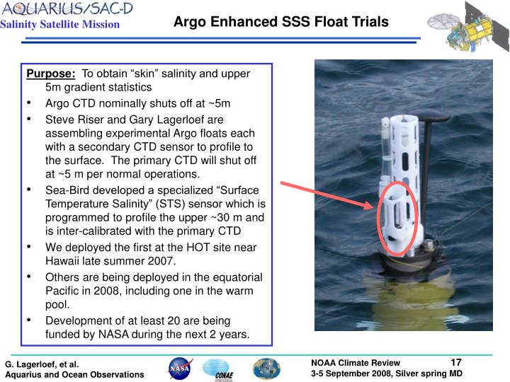 Argo Enhanced SSS Float Trials