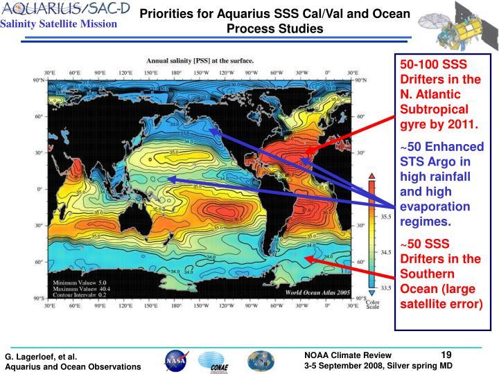 Priorities for Aquarius SSS Cal/Val and Ocean Process Studies