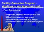 facility guarantee program application and approval cont