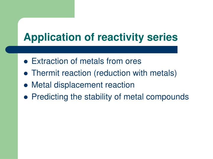 Application of reactivity series